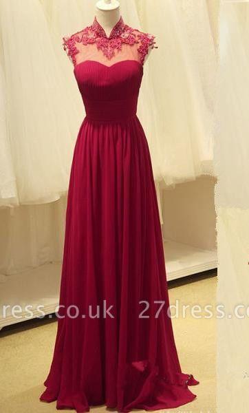 Luxury High-Neck Burgundy Long Prom Dress UKes UK Chiffon Beadings  Appliques