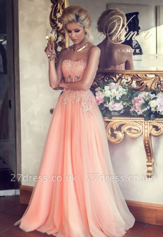 Appliques Long Lace Prom Dress UK Lovely Strapless Lace