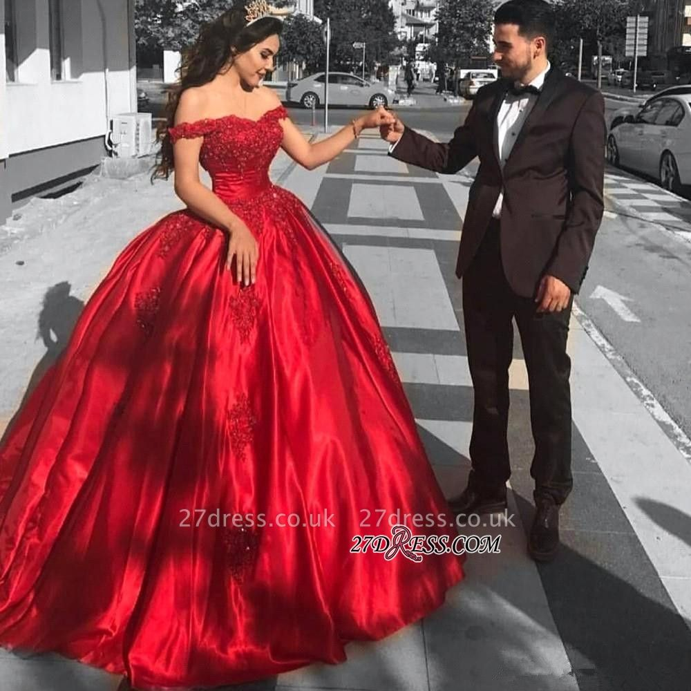 Red Off-the-Shoulder Evening Dress UK   Ball-Gown Prom Dress UK