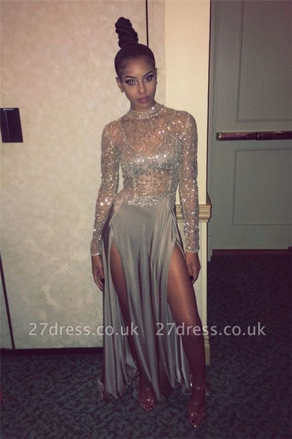 Delicate High Neck Long Sleeve Prom Dress UK | Front Split Prom Dress UK