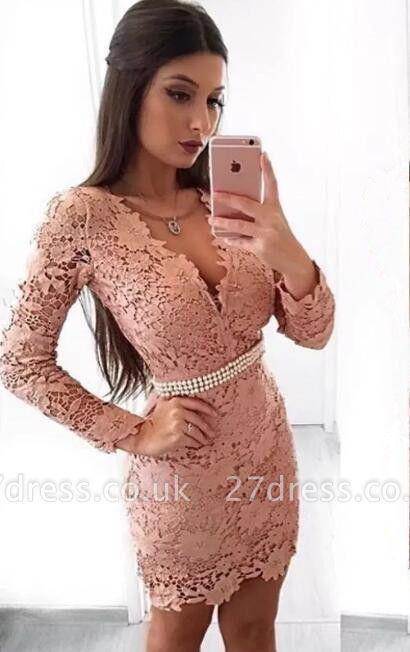 Beautiful Long Sleeve Homecoming Dress UK | 2019 Mermaid Lace Short Party Dress UK With Pearls