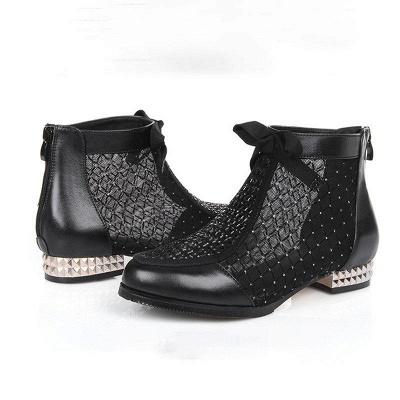 Black Chunky Heel Bowknot Casual Mesh Boots_2