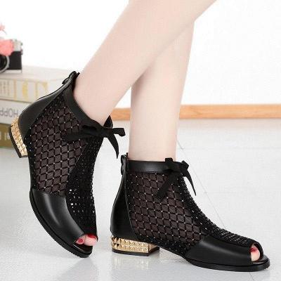 Black Chunky Heel Bowknot Casual Mesh Boots_5