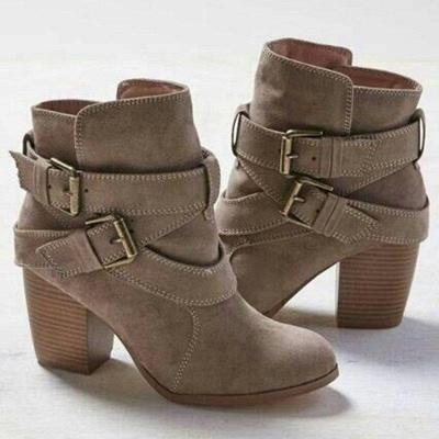 Chunky Heel Daily Buckle Suede Elegant Boot