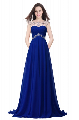 Royal Blue A-Line Chiffon Prom Dress UKes UK Ruffles Floor Length Evening Dress UKes UK with Beadings_3
