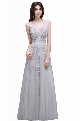 ADDYSON | A-line Floor-length Tulle Bridesmaid Dress with Appliques_9