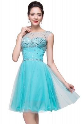 ELIN | A-line Sleeveless Crew Short Tulle Prom Dresses with Crystal Beads_7