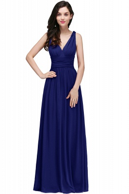 V-Neck Ruched Chiffon A-line Burgundy Evening Dress UKes UK_2
