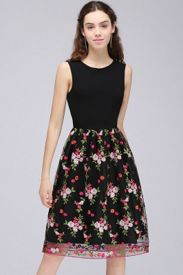 Sleeveless Short A-Line Tulle Black Flowers Homecoming Dress UKes UK_1