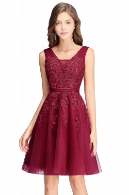 Beautiful Sleeveless lace-up Short homecoming Dress UK Lace Appliques Tulle BA3782_2