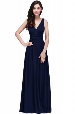 V-Neck Ruched Chiffon A-line Burgundy Evening Dress UKes UK_3