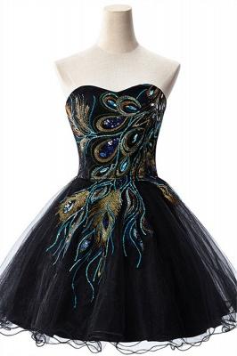 Elegant Black Sweetheart Short Tulle Homecoming Dress UK Peacock Design_1