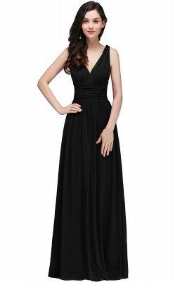 V-Neck Ruched Chiffon A-line Burgundy Evening Dress UKes UK_7
