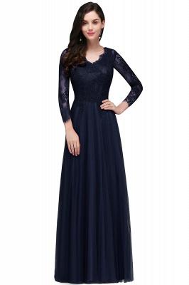 V-Neck Long-Sleeves Burgundy Floor-Length A-line Prom Dress UKes UK_2