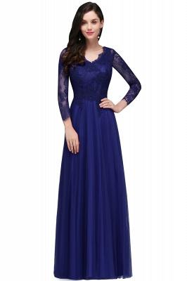 V-Neck Long-Sleeves Burgundy Floor-Length A-line Prom Dress UKes UK_1