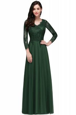 V-Neck Long-Sleeves Burgundy Floor-Length A-line Prom Dress UKes UK_3