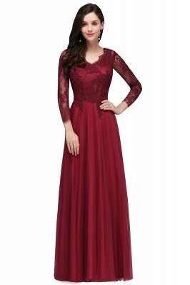 V-Neck Long-Sleeves Burgundy Floor-Length A-line Prom Dress UKes UK_1
