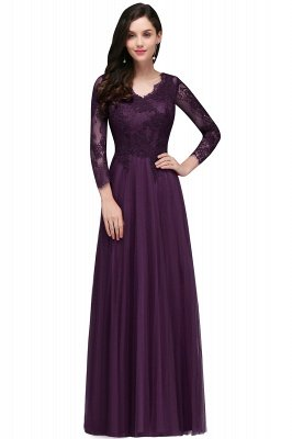 V-Neck Long-Sleeves Burgundy Floor-Length A-line Prom Dress UKes UK_2