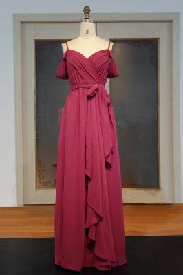 Off-the-Shoulder Chiffon Bridesmaid Dress UK | Long Wedding Party Dress UK_1