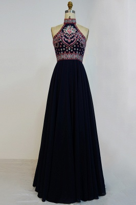 Halter Backless Black Sexy Long Chiffon Evening Dress UKes UK_1