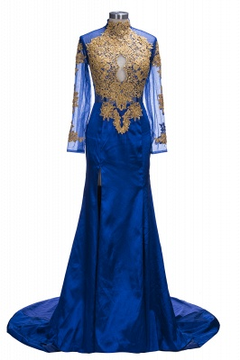 SAL | Mermaid Long Sleeves Front Split Appliques Prom Dresses_1