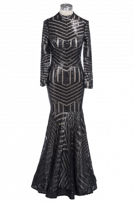 Sequined Black Mermaid High-Neck Elegant Long-Sleeves Prom Dress UK jj0085_1
