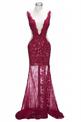 Mermaid V-neck Sleeveless Front-Split Lace Elegant Prom Dress UK BA6811_1