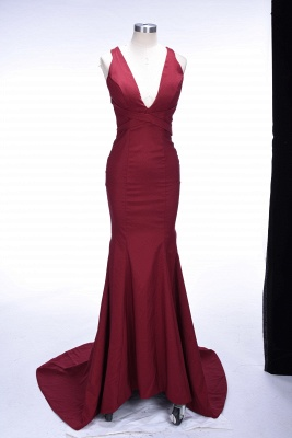 Sweep-Train V-neck Burgundy Elegant Mermaid Sleeveless Prom Dress UK sp0259_1