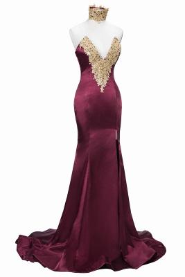 Burgundy Lace-Appliques Elegant Mermaid High-Neck Front-Split Prom Dress UK SP0326_1