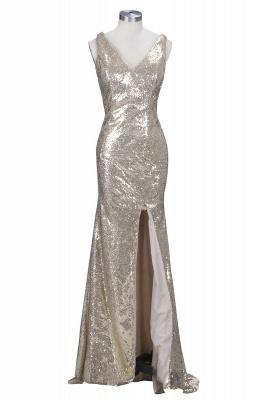 Sparkly Sheath Split Long Elegant V-neck Champagne Sequined Prom Dress UKes UK jj0020 BK0_1