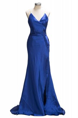 Royal-Blue Open-Back V-Neck A-Line Side-Slit Elegant Evening Dress UK qq0194_1