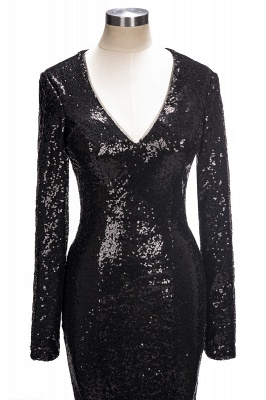 Black sequins prom Dress UK, long sleeve mermaid evening gowns_1