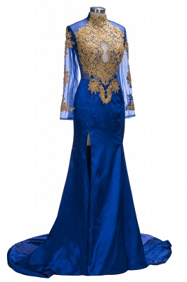 SAL | Mermaid Long Sleeves Front Split Appliques Prom Dresses_5