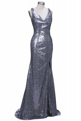 Gorgeous V-Neck Sleeveless Sequins Mermaid Prom Dress UK TH304_1