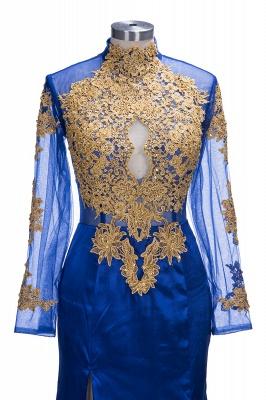 SAL | Mermaid Long Sleeves Front Split Appliques Prom Dresses_6