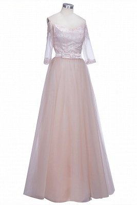 Off-the-shoulder Tulle Lace A-line Gorgeous Half-Sleeves Prom Dress UKes UK_1