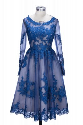 Delicate Ruyal Blue Appliques Prom Dress UK Long Sleeve_1