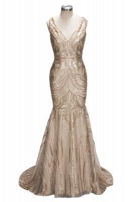Luxury V-Neck Mermaid Sequins Prom Dress UK_1