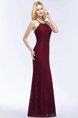 Elegant Mermaid Floor Length Halter Lace Burgundy Bridesmaid Dress UK UKes_3