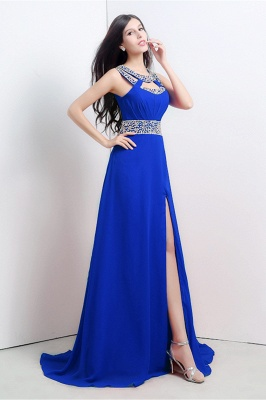 Modern Crystals A-line Front-Split Chiffon Prom Dress UK_2