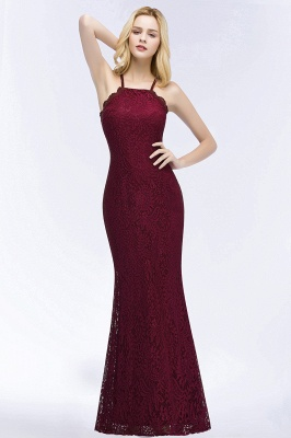 Elegant Mermaid Floor Length Halter Lace Burgundy Bridesmaid Dress UK UKes_1