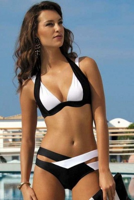 Colorful Solid Sexy Bikinis Polyamide Halter Swimwear_1