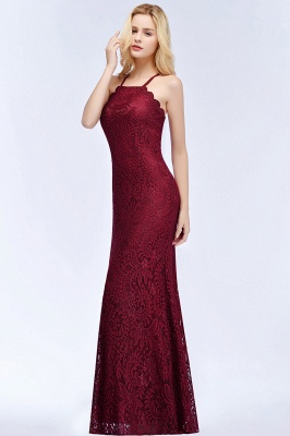 Elegant Mermaid Floor Length Halter Lace Burgundy Bridesmaid Dress UK UKes_7