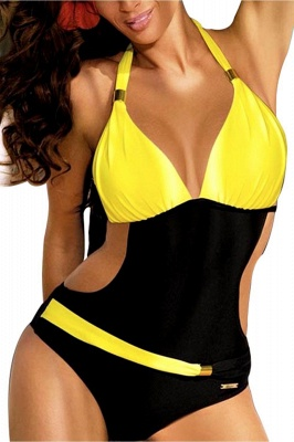 One-Piece Halter Waist Exposed Swimsuit_2