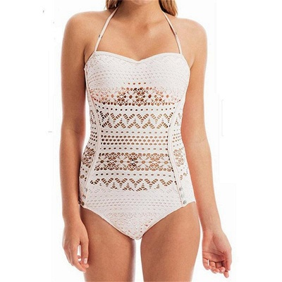 Lace Hollow Halter One-Piece Swimsuit_1