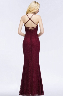 Elegant Mermaid Floor Length Halter Lace Burgundy Bridesmaid Dress UK UKes_2