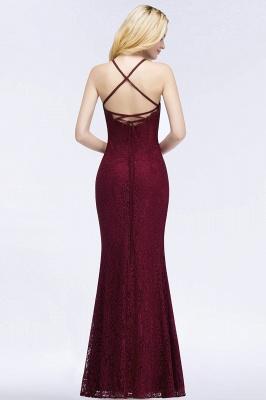 Elegant Mermaid Floor Length Halter Lace Burgundy Bridesmaid Dress UK UKes_2