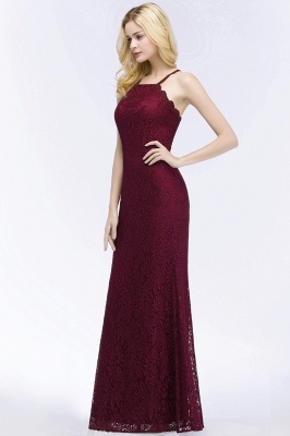 Elegant Mermaid Floor Length Halter Lace Burgundy Bridesmaid Dress UK UKes_6