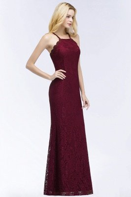 Elegant Mermaid Floor Length Halter Lace Burgundy Bridesmaid Dress UK UKes_5