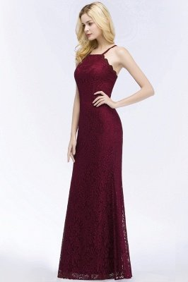 Elegant Mermaid Floor Length Halter Lace Burgundy Bridesmaid Dress UK UKes_6